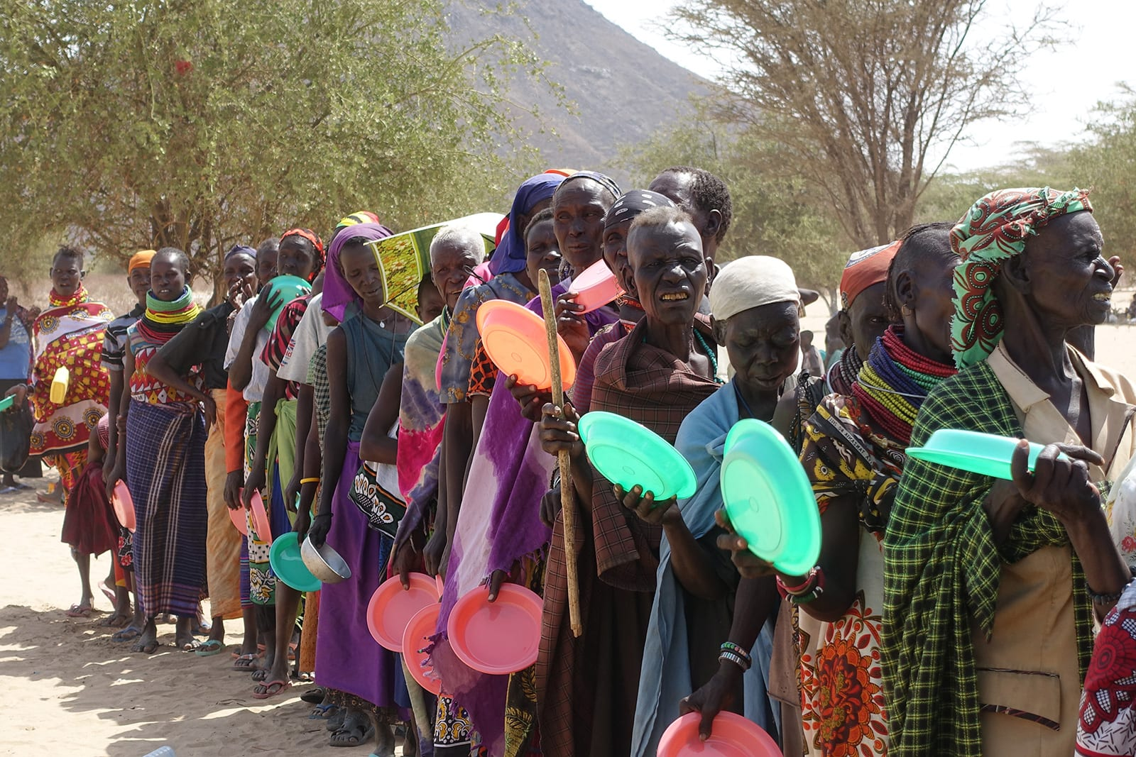 Community lined up for food in Kenya
